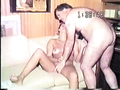 Homemade vintage wife sharing fuck with a cutie on her back