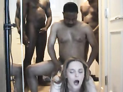 Married white girl gangbanged by black guys and taking all their cum