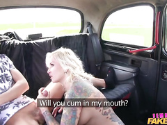 Tattooed Czech girl gives the cab driver a BJ and fucks him