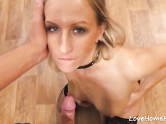 Hot blonde secretary likes to suck
