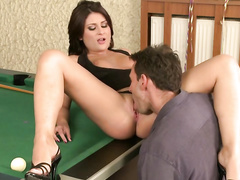 Curvy Bellina loves to play pool and fuck the winner then