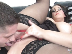 The brunette milf seduces her sons friend