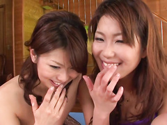 Two Asian babes are super horny lesbians