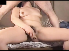 Hairy milf sucks a dick while drilling a pussy with a toy