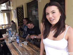 Hot natural brunette cant wait to let big cock inside her mouth and pussy