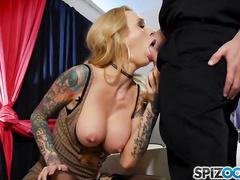 Hot tatooed whore Sarah Jessie pleasures older man
