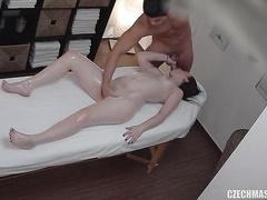 Milky white Czech girl enjoys a rubdown and a good hardcore fucking