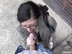 Amateur Veronika suck a man on the street for money