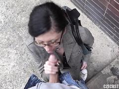 Amateur Veronika suck a man on the street for money