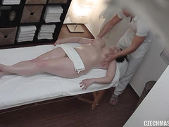 Chubby girl caught on hidden camera getting a happy ending massage
