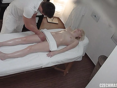 Hidden camera in the massage room films a Czech girl getting fucked