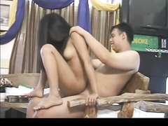 Petite Asian fucked slowly and sensually in her wet shaved pussy