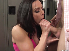 Horny pornstar milf Kendra Lust is being fucked in a gym