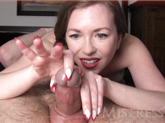Horny mature woman makes her man happy using her hands