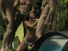 Asian girl get fucked one by one by 4 dudes