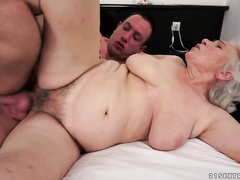 Big Granny hairy pussy gets creampied with young dick