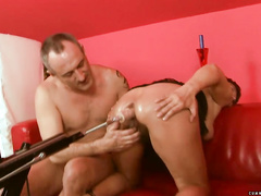 Mature squirter use some different sextoys
