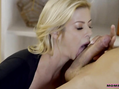Big boobs mom taking care of a young guy with big dick