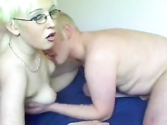 Blonde mature milf sucks on her husbands cock with pleasure