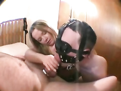 Threesome with cock sucking pussy licking in this bondage fuck