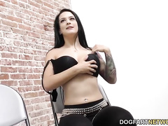 Katrina Jade has fun with a big black dick poking out through the wall she just wants to feel it inside her