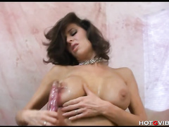 This brunette big tits milf loves to toy herself today with sextoy