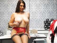 Office slut masturbating in front of the camera