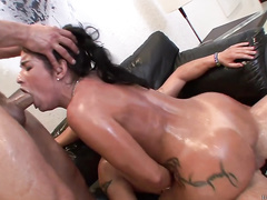 A Latin slut Monica Santhiago is fucked by two beasts