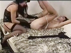 Woman fucks her husband by destroying his ass with dildos