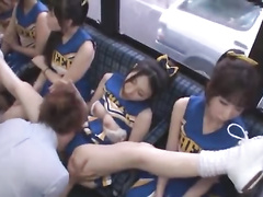 A lucky mature oriental guy and A Bus full of sexy sweating cheerleaders